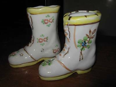 2 VTG SHOE BOOTS FIGURINES OCCUPIED JAPAN YELLOW WITH GREAT FLORAL DESIGN