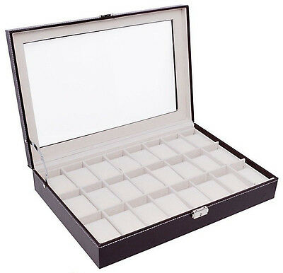 Large Brown Leather 24 Grid Watch Display Case Glass Top Jewelry Box Organizer