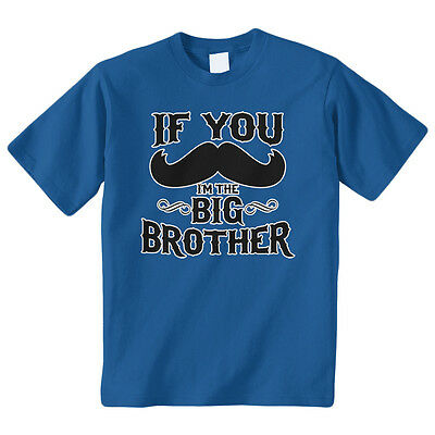 If You Mustache I'm The Big Brother Youth T-Shirt Kids Boys Funny Announcement