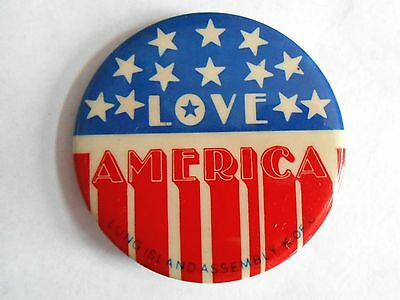 Vintage Long Island Assemby Knights of Columbus Love America Patriotic Pinback