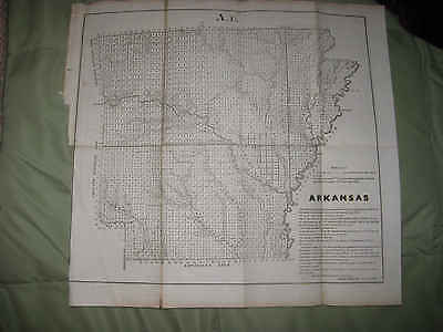 Rare Early Antique 1854 Arkansas Map Little Rock Columbia Hot Springs Indian Nr