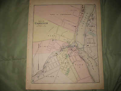 Mint Antique 1895 Gardiner Hallowell Waterville Winslow Maine Handcolored Map Nr