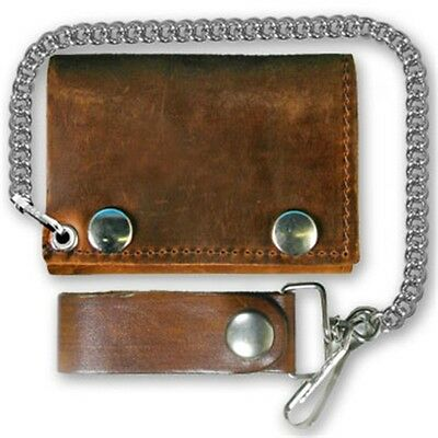 "Distressed Brown 4"" Soft Leather Biker Quality WALLET & CHAIN Biker WAL-0030"