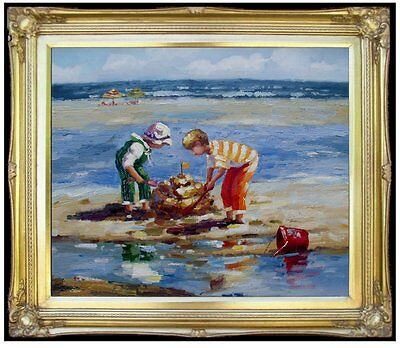 Framed, Kids Playing at Beach, Quality Hand Painted Oil Painting 20x24in