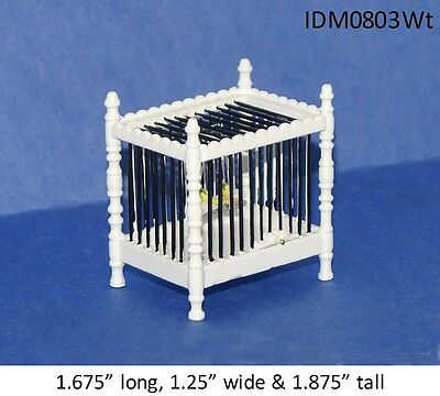 BIRD CAGE WITH BIRD WHITE FINISH 1/12 SCALE DOLLHOUSE MINIATURES ANIMALS PET
