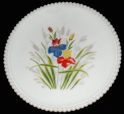 "Westmoreland Milk Glass w/HP Dragon Lily Flower Beaded Edge Pattern 7.25""d Plate"