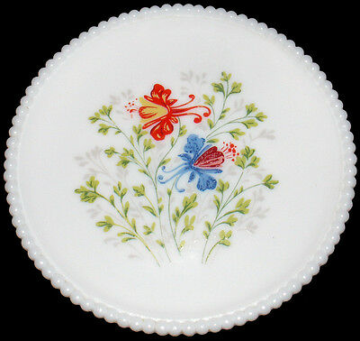 "Vintage Westmoreland Milk Glass w/HP Dragon Lily Beaded Edge Pattern 7.25"" Plate"
