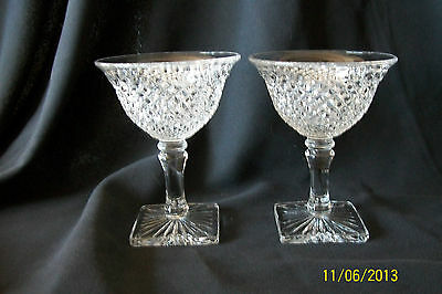 Westmoreland Glass English Hobnail Pair of Champagne Wines High Desserts Stems