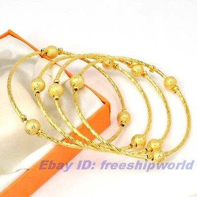 """7.7""""32g REAL 4 BANGLE 18K YELLOW GOLD GP BEAD CHAIN SET SOLID FILL GEP BRACELET"""