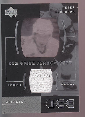 01-02 Upper Deck UD Ice Game Jersey Card Peter Forsberg All-Star