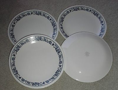 "CORELLE OLD TOWN TOWNE BLUE   LOT OF 4  LUNCH SALAD PLATES 8.5"" NEW"