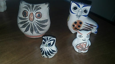 Mexican Owls Lot of 4 Ceramic Pottery Signed
