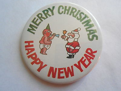 Fuin Vintage Santa Claus & Baby New Year Merry Christmas Happy New Year Pinback