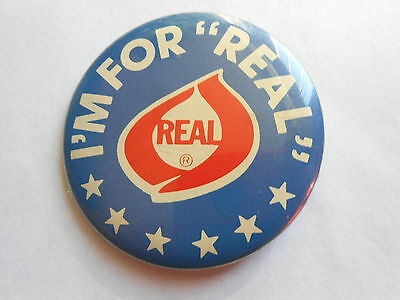 "Cool Vintage I'm for ""Real"" Dairy Council Real Cheese Advertising Pinback"