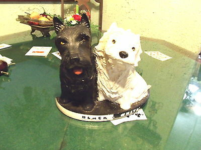 Vintage Black & White Scotch Whisky Scottie Dogs Advertising Display Statue