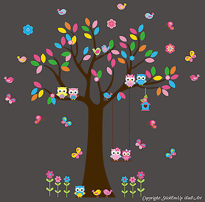 Nursery Wall Decals - Forest Wall Stickers - Large Tree Decal - Owl Decal - Bird