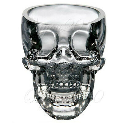 Skull Head Crystal Glass Vodka Whiskey Shot Cup Drinking Ware Home Bar 2.3ounces