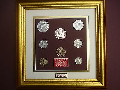 FRAMED 1957 COIN SET  60th BIRTHDAY GIFT IN 2017