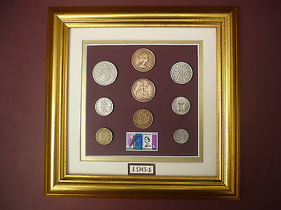 FRAMED 1964 COIN SET 53rd BIRTHDAY / ANNIVERSARY GIFT IN  2017
