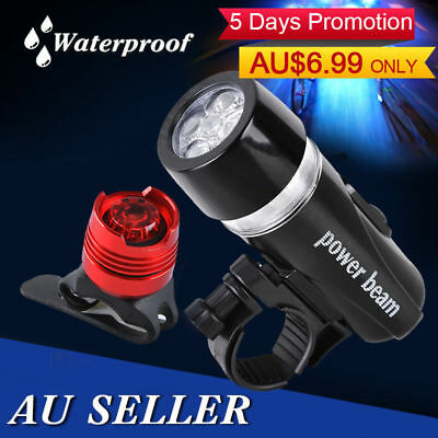 NEW 5 LED Bicycle Bike Head Front Light + Rear Cycle Safety Flashlight Lamp SET