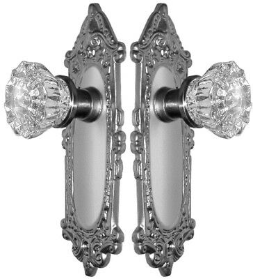 CUSTOM MADE CRYSTAL & BRUSHED NICKEL Estate Style DOOR Knobs Set to FIT ANY DOOR