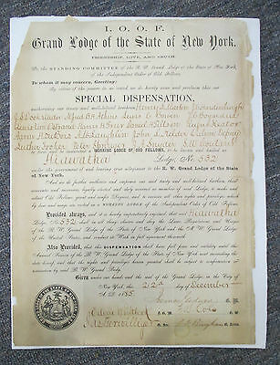 1885 ODD FELLOWS Hiawatha Lodge No 532, Ulster & Sullivan Counties NY Charter