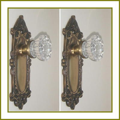 CUSTOM MADE CRYSTAL & ANTIQUE BRASS Estate Style DOOR Knobs Set to FIT ANY DOOR • CAD $189.66