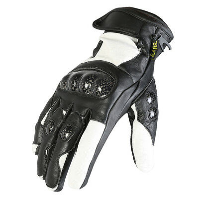 Black & White Short Leather Motorcycle MX Motorbike Gloves With Protection