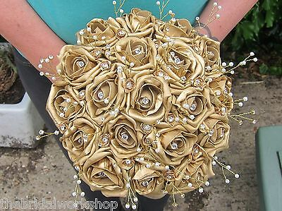 Brides Handtied Posy Posie Bouquet Indian Asian Wedding Flowers Buttonhole Gold