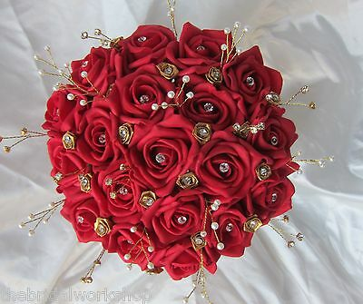 Brides Handtied Posy Posie Bouquet Indian Asian Wedding Flowers Buttonhole Red