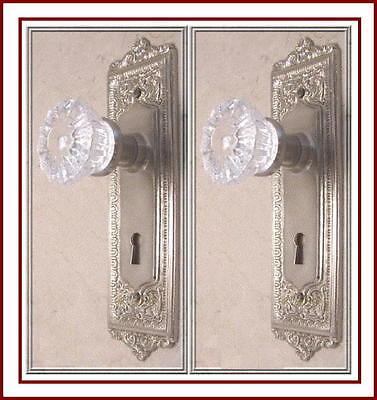 MADE TO ORDER CRYSTAL & BRUSHED NICKEL Egg & Dart Estate DOOR SETS-FIT ANY DOOR