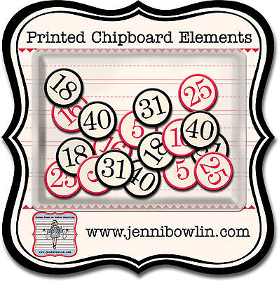 JBS Printed Chipboard Elements-BINGO NUMBERS scrapbooking 18 PCS