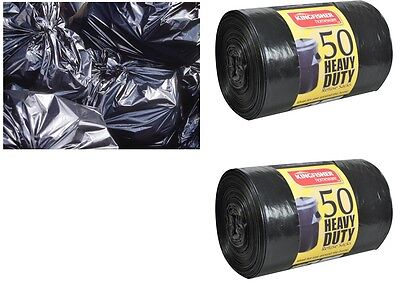 100 Black Refuse Sacks Strong Thick Heavy Duty Rubbish Bags Bin Liner Large