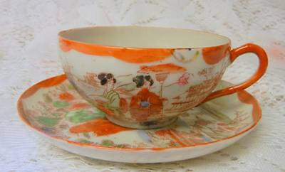 CHINESE Export FAMILLE ROSE Hand Painted CUP AND SAUCER 19c