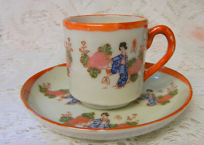 Old CHINESE FAMILLE ROSE Hand Painted CUP AND SAUCER late 19TH CENTURY