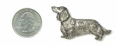 DACHSHUND (LONGHAIR) PIN - BROOCH - BADGE - PEWTER - US MADE - FREE US SHIPPING