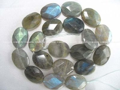 """15.5"""" 15*20mm faceted labradorite flat oval beads wholesale nature"""