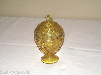 1960'S AVON YELLOW EMBOSSED FLORAL GLASS FOOTED COVERED CANDLE HOLDER JAR DISH