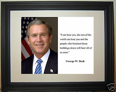 "George W. Bush "" I can hear you"" Quote Framed Photo Picture"