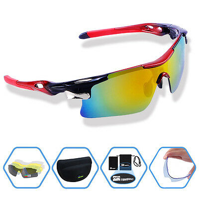 Cycling Bicycle Bike Polarized Sun Glasses Sunglasses UV 400 + 5 Lens Red