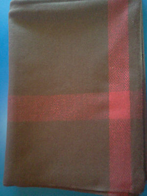 ~ Wool BLANKET - Brown with stripe on 4 sides - Reenactment Special - New !