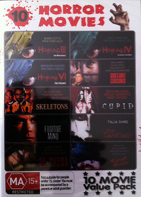 10 HORROR MOVIES - INCLUDES HOWLING 3, 4 and 6 - SKELETONS on 4 DVD's