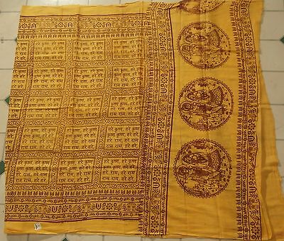 Hare Krishna  Namabali Hindu,Buddhist,Prayer Wrap Scarf Yellow