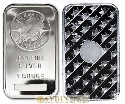 1 Troy Ounce Sunshine Minting Silver Bar 1 oz 999 Fine Silver Sealed