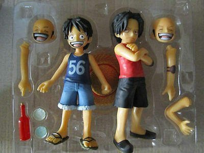 Set of 2 pcs. One piece anime Luffy Ace Childhood brothers figures New in Box