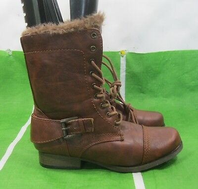 0999c51df3bda NEW LADY WOMENS Brown Lace Up Military Combat Winter Sexy Ankle ...