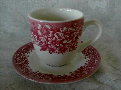 Collectible 8 Pc.Set Staffordshire Red/Pink Chintz Cups & Saucers-MORE AVAILABLE
