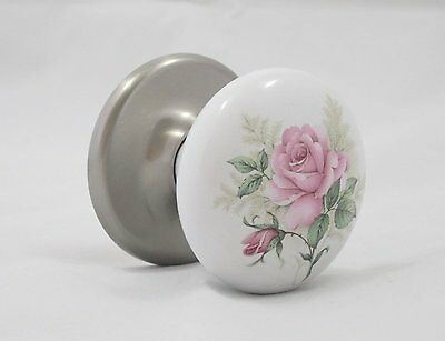 Re-engineered Exquisite Rose Porcelain Ceramic Door Knob Satin Nickel Rosette