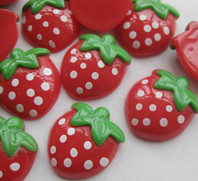 20x Strawberry Resin Flatback Button DIY Scrapbooking Accessories 25*22mm JCN035