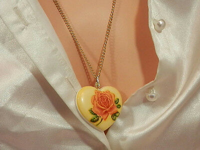 Pretty Signed Germany Vintage 1950s Celluloid Heart Necklace  1897n